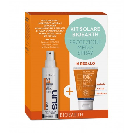 KIT SOLARE SPRAY - SPF25 MEDIA + shampoodoccia - Bioearth SUN